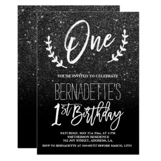 Tarjeta Primer cumpleaños de la tipografía negra moderna