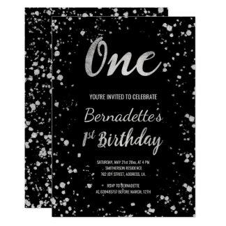 Tarjeta Primer cumpleaños de las falsas salpicaduras de