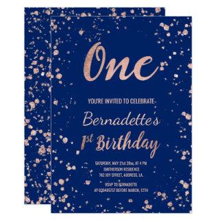 Tarjeta Primer cumpleaños de los falsos del oro azules