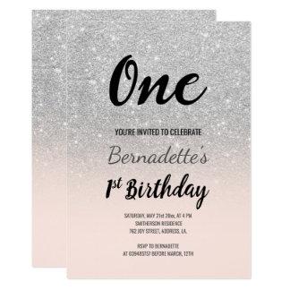Tarjeta Primer cumpleaños del falso ombre de plata del
