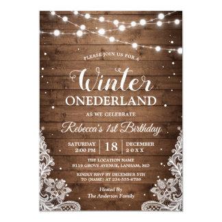 Tarjeta Primer cumpleaños del invierno de ONEderland del