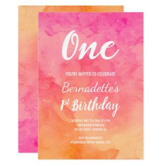 Tarjeta Primer cumpleaños del ombre coralino rosado