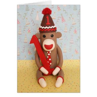 Tarjeta Primera celebración del mono del calcetín del