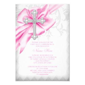 Tarjeta Primera comunión de la cruz rosada del damasco