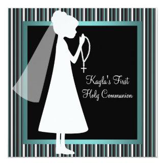 Tarjeta Primera comunión del negro azul de los chicas