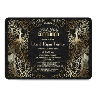 Tarjeta Primera comunión santa del oro de los pavos reales