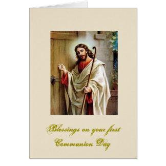 Tarjeta Primera comunión santa - enhorabuena -