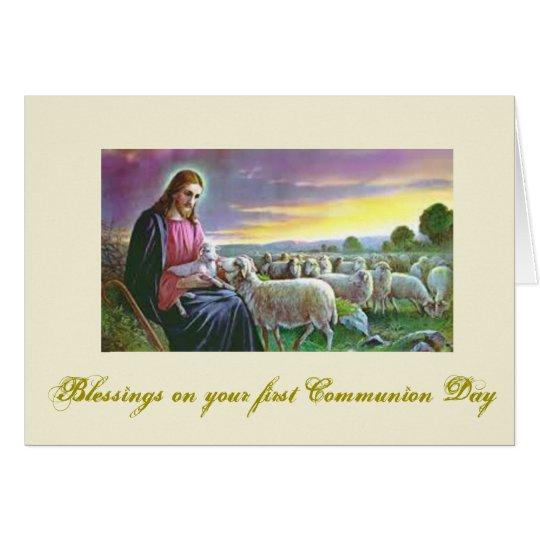 Tarjeta Primera comunión santa - para la enhorabuena -