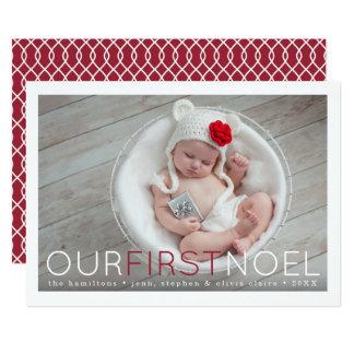 Tarjeta Primera foto del navidad del primer bebé de Noel