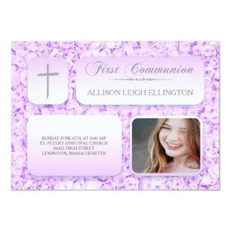 Tarjeta Primera foto del personalizado de la comunión de