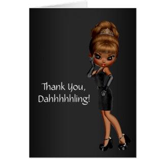 Tarjeta Princesa afroamericana Diva Thank You Cards