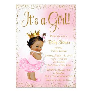 Tarjeta Princesa afroamericana fiesta de bienvenida al