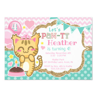 Tarjeta Princesa Birthday Pata-ty Invitation del gatito