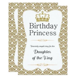 Tarjeta Princesa cristiana Gold Damask del cumpleaños