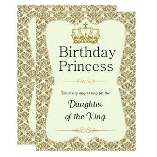 Tarjeta Princesa cristiana Gold del cumpleaños y damasco