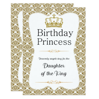 Tarjeta Princesa cristiana White del cumpleaños y damasco