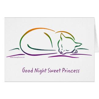 Tarjeta Princesa dulce de las buenas noches (gato)