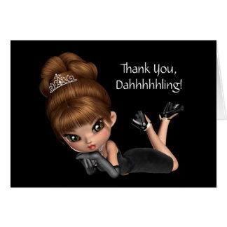 Tarjeta Princesa linda Diva Thank You