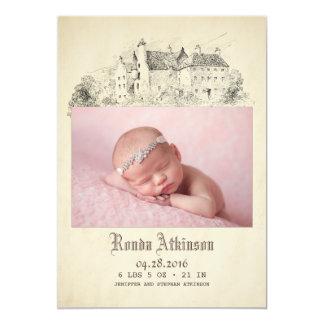Tarjeta Princesa Newborn Baby Photo Birth del castillo del