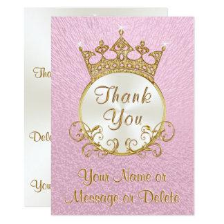 Tarjeta Princesa personalizada rosa Thank You Cards