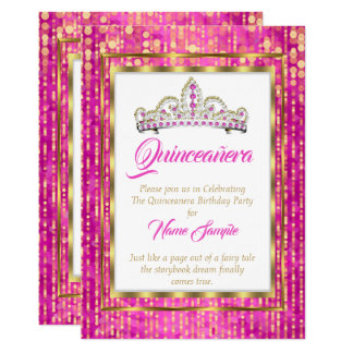 Tarjeta Princesa real Pink Quinceanera Gold White