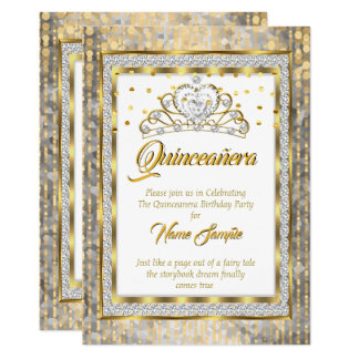 Tarjeta Princesa real Quinceanera Gold White Silver