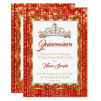 Tarjeta Princesa real Red Quinceanera Gold White