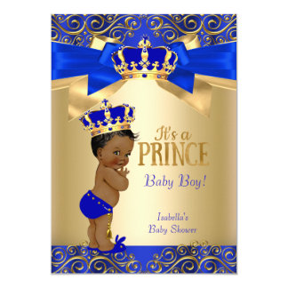 Tarjeta Príncipe fiesta de bienvenida al bebé del damasco