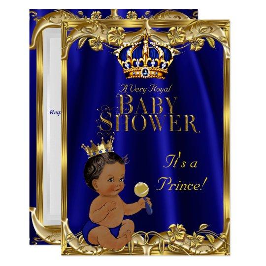 Tarjeta Príncipe fiesta de bienvenida al bebé del oro de