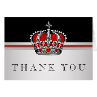 Tarjeta Príncipe rojo Crown Thank You Cards
