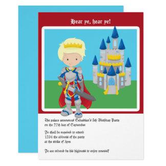 Tarjeta Príncipe rubio y fiesta de cumpleaños del castillo