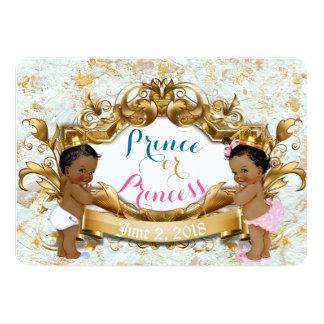 Tarjeta Príncipe y princesa africanos Gender Reveal