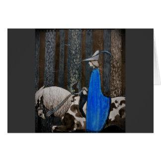 Tarjeta Príncipe y Tomte (gnomo) en el bosque