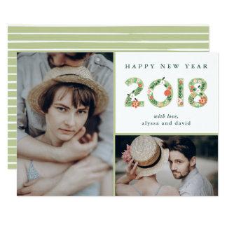 Tarjeta Principios florales el | Feliz Año Nuevo de dos