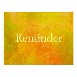 Tarjeta profesional anaranjada del recordatorio de