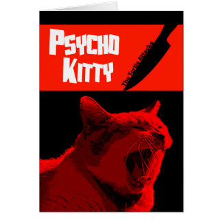 Tarjeta psica del feliz Halloween del gatito