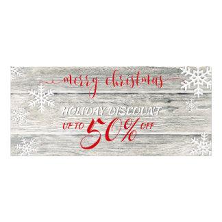 Tarjeta Publicitaria Copos de nieve de madera rústicos del navidad -