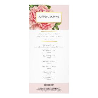 Tarjeta Publicitaria El PRECIO del PROMO MANTIENE la flor rosada del