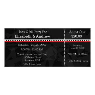 Tarjeta Publicitaria Jack blanco y rojo negro y boletos de la ducha de