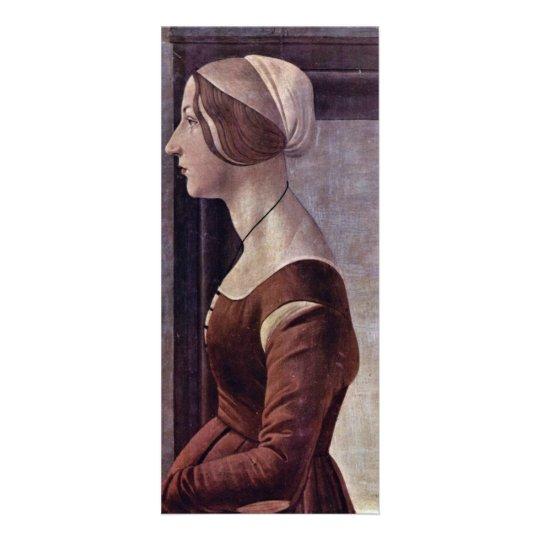 Tarjeta Publicitaria Retrato de una mujer joven de Botticelli Sandro