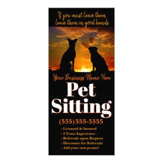 Tarjeta Publicitaria Sentada del mascota. Publicidad de encargo del