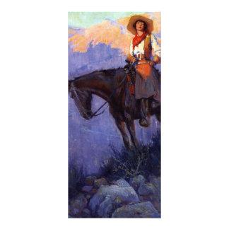 Tarjeta Publicitaria Vaqueros del vintage, hombre y mujer en caballos,