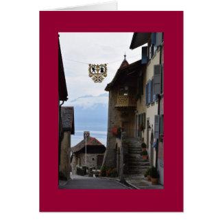 Tarjeta Pueblo suizo de la vinificación