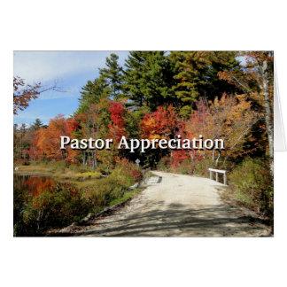 Tarjeta Puente rural en escritura del aprecio del pastor