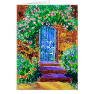 Tarjeta Puerta de madera azul preciosa a la rosaleda