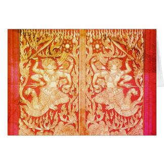 Tarjeta Puerta y Buda hermosos de Wat del ~ de Tailandia