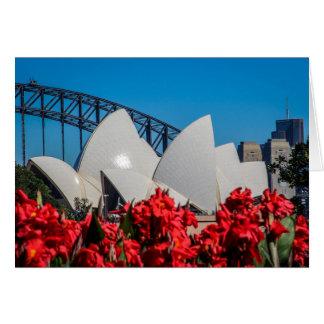 Tarjeta Puerto de Sydney en una mañana hermosa de la