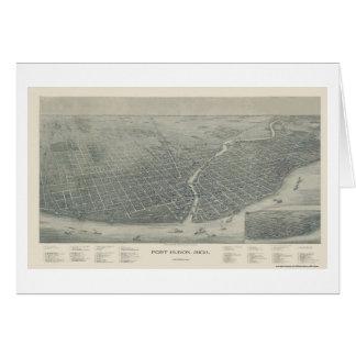 Tarjeta Puerto Huron, mapa panorámico del MI - 1894