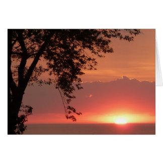 Tarjeta Puesta del sol anaranjada brillante del lago Erie
