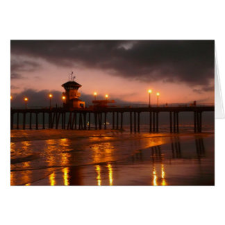 Tarjeta Puesta del sol de California en Huntington Beach